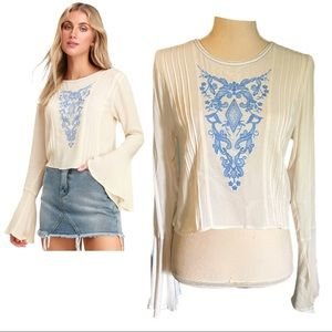 Lulu's Whitney Cream Embroidered Bell Sleeve Top